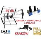 ANTENA DVB-T WZMACNIACZ ZASILACZ ZESTAW 45dB 1