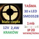TAŚMA DIODOWA 30 x LED 3528 IP20 1m biała ciepła 14