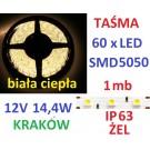 TAŚMA DIODOWA 60 x LED 5050 IP63 1m biała ciepła 16