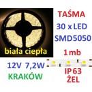 TAŚMA DIODOWA 30 x LED 5050 IP63 1m biała ciepła 14