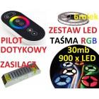ZESTAW TAŚMA  LED 5050 RGB bialy PILOT dotykow 30m