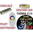 ZESTAW TAŚMA  LED 5050 RGB bialy PILOT dotyk 5m