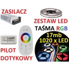 ZESTAW TAŚMA 1020  LED 5050 RGB PILOT dotykowy 17m