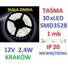 TAŚMA DIODOWA 30 x LED 3528 IP20 1m biała zimna