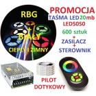 ZESTAW TAŚMA LED 5050 RGB pilot dotykowy 20m BIAŁY