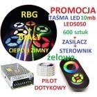 ZESTAW TAŚMA 600 LED 5050 RGB pilot dotykowy10m ŻE