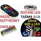 ZESTAW TAŚMA  LED 5050 RGB bialy PILOT dotykow 20m